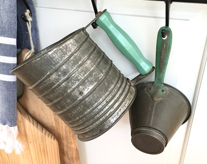 Vintage Sifter and Funnel - Green Handles