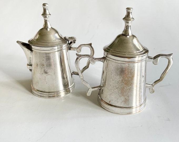 Vintage Silver Cream and Sugar - Small