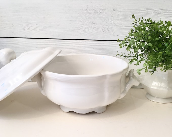Vintage French Luneville White Covered Serving Dish - Tureen - Made in France