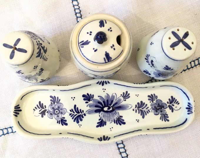 Vintage Delft Condiment Set - Blue and white Salt Pepper and Mustard with Tray