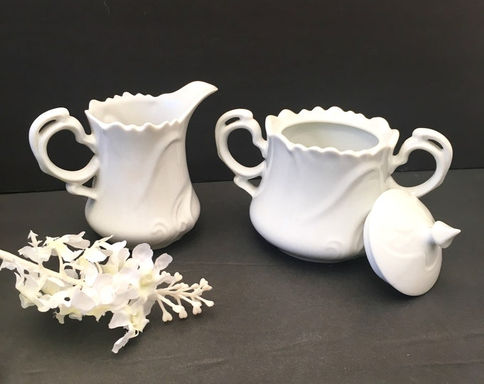 Vintage Sugar and Creamer Set - White Bone China