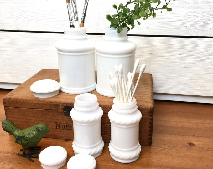 Vintage Jars - Milk Glass Dresser Jars - Apothecary Jars (Price includes 4 jars)