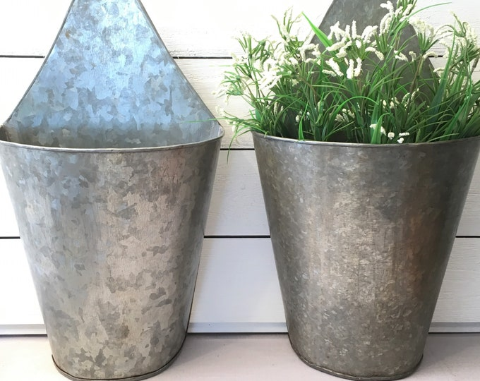 Wall Pocket -  Metal with galvanized finish hanging planter