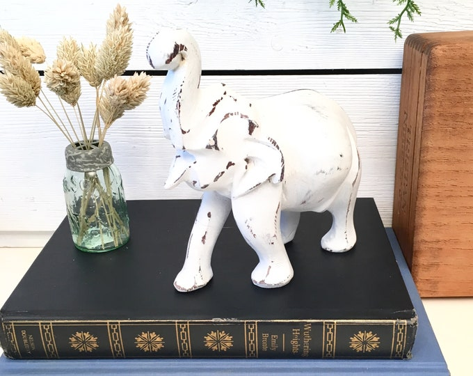 Vintage Elephant - White Wood