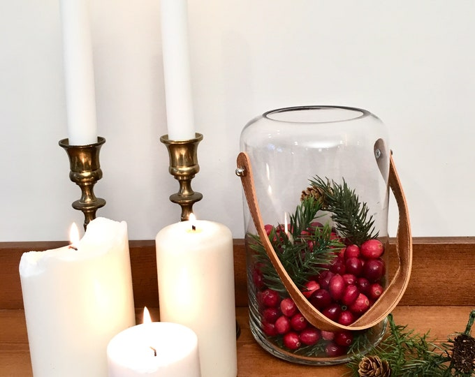 Glass Lantern (Large) with Leather Handle - Glass jar