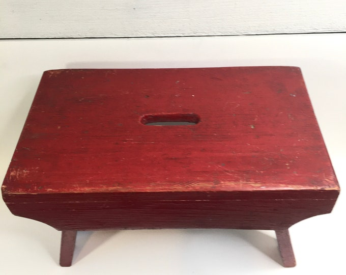 Vintage Stool - Solid Wood - Farmhouse Red