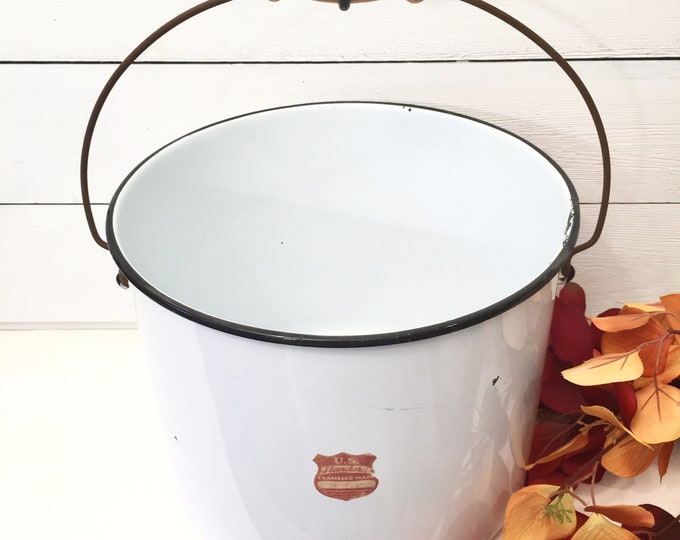 Vintage Enamelware Bucket or Pail - White with Black Trim