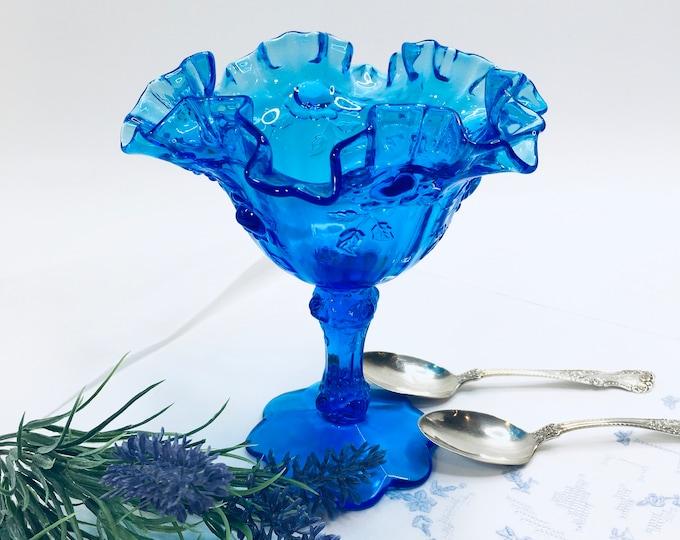 Vintage Fenton Glass Compote - Blue Pedestal Candy Dish