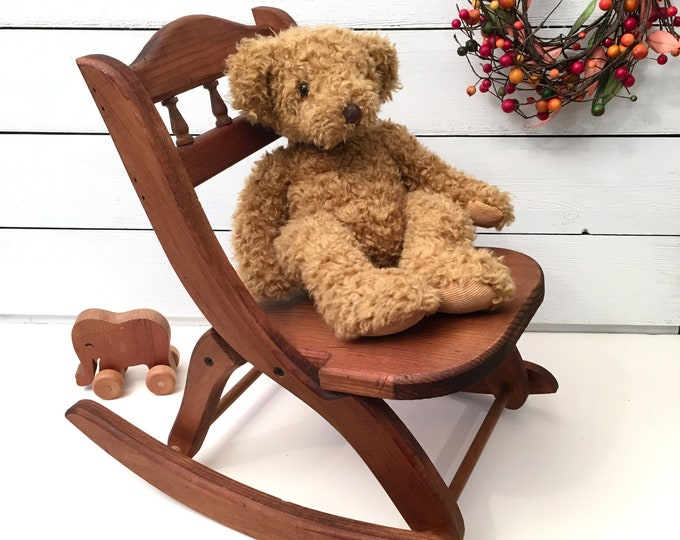 Vintage Child's Rocking Chair - Solid Wood - Folding