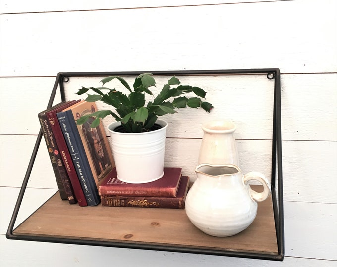 Shelf - Modern Farmhouse -Black Metal and Wood
