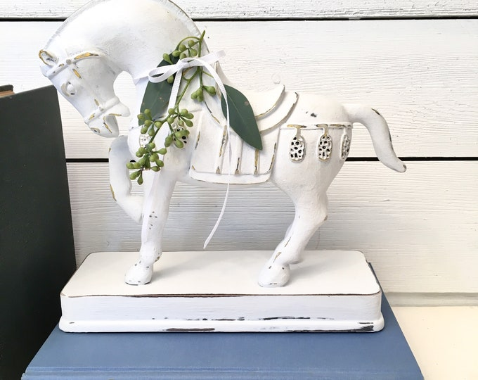 Vintage Horse - White on a Base