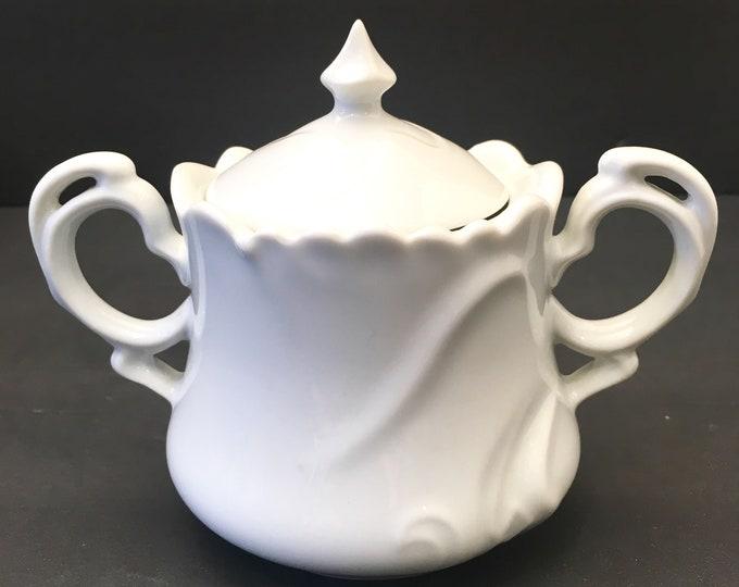 Vintage Cream and Sugar Set - White Bone China