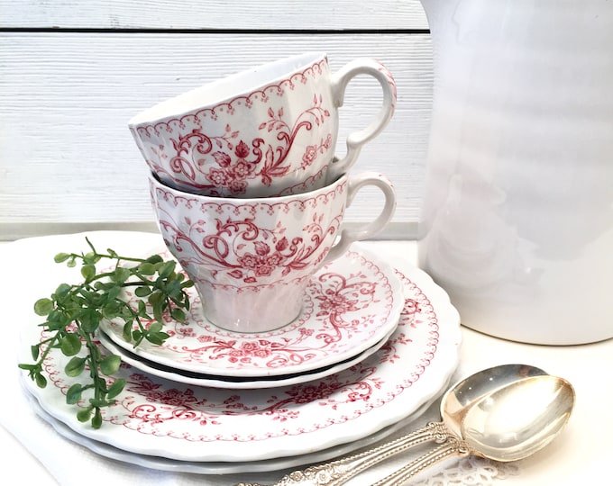 Vintage Ironstone Plates, Cups and Saucers - Regency Pink Old Staffordshire (4 pieces)