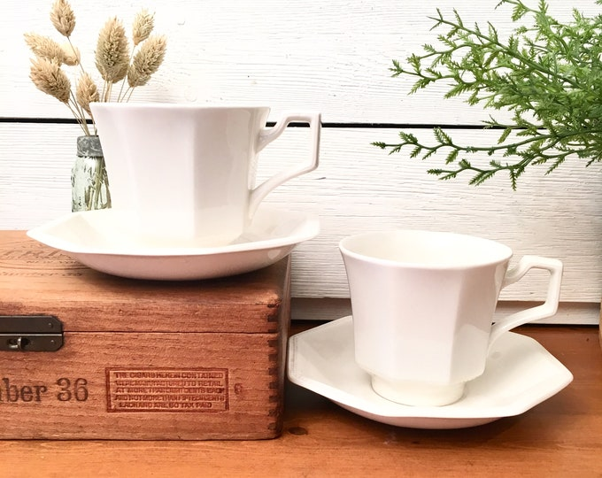 Vintage Ironstone Cups and Saucers - Made in England - Johnson Bros. Heritage White (Price includes 2 cups, 2 saucers + 3 extra cups)