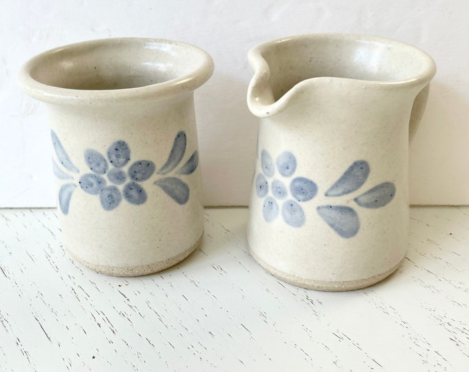 Vintage Cream and Sugar - Stoneware - Blue and White