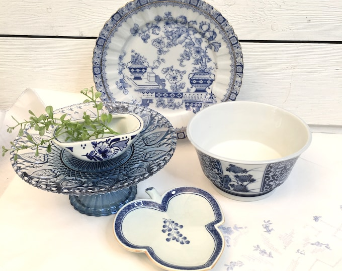 Vintage Blue and White Collection - Five pieces included in price