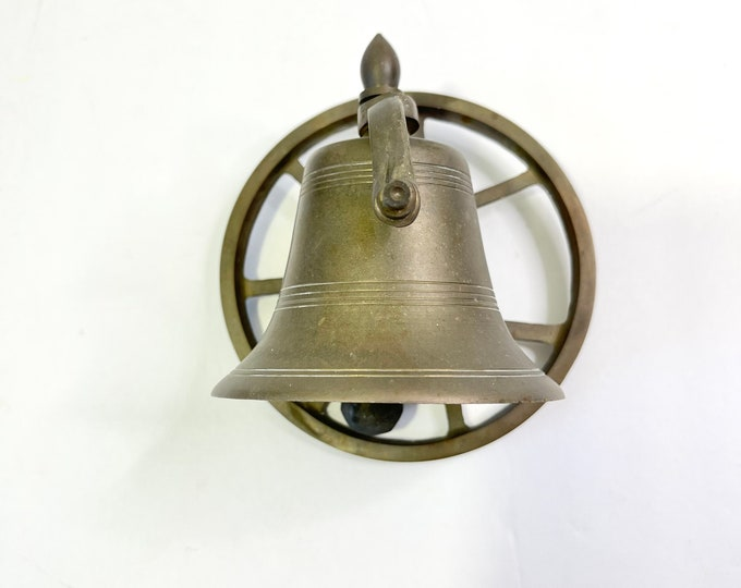 Vintage Bell - Brass Nautical Bell on Ships Wheel