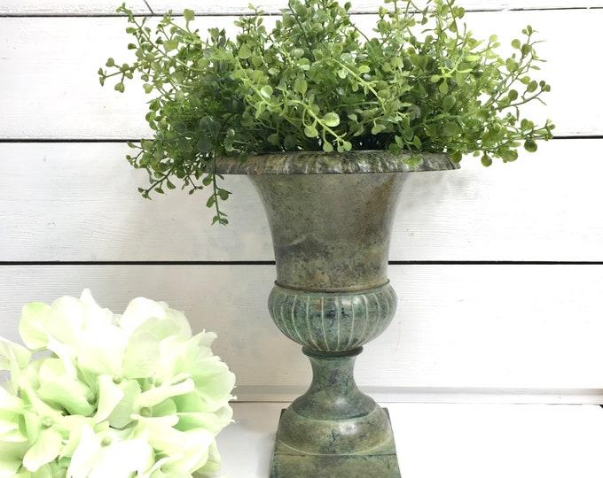 Vintage Urn - Vase - Aged Green Metal