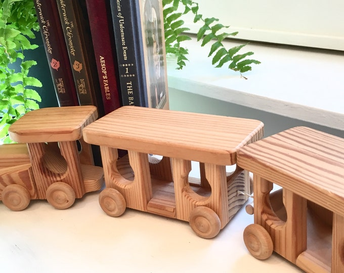 Vintage Wooden Toy Train - Handcrafted