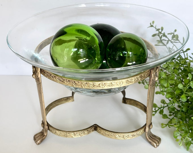 Vintage Brass and Glass Bowl