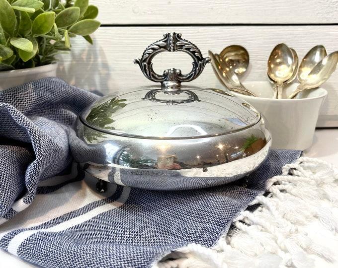 Vintage Silver Serving Piece - 3 piece server - Glass Insert