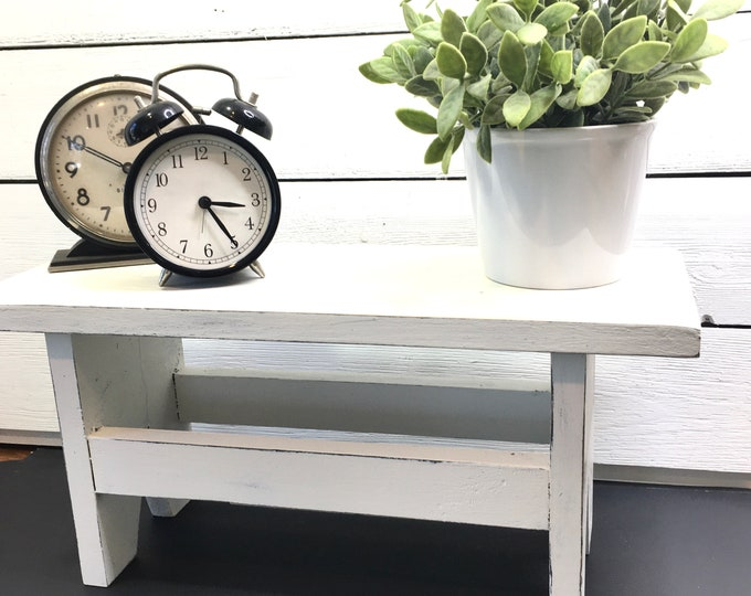 Vintage Stool - White Solid Wood