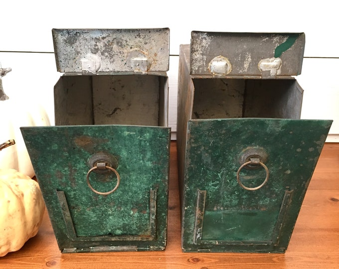 Vintage Salvage Drawers - Green Metal Storage Salvage