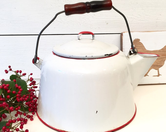 Vintage Enamelware Tea Kettle - white with red trim