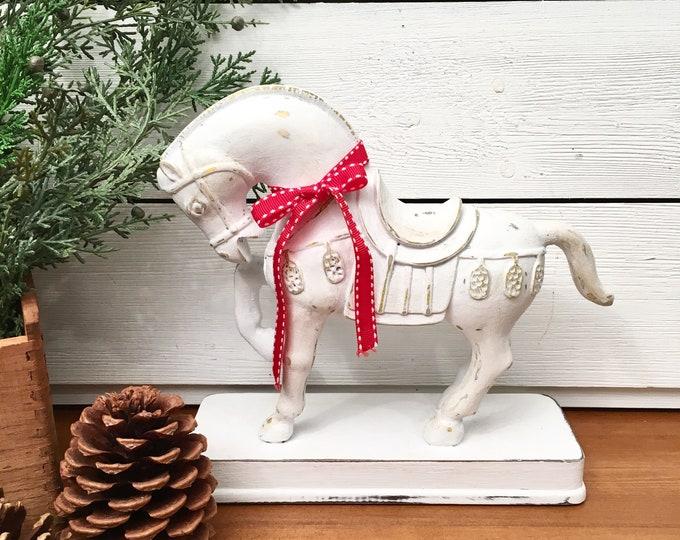 Vintage Horse - White on a Base