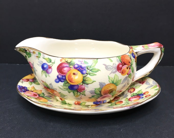 Vintage Chintz Sauce Boat and Underplate - RARE Royal Winton -  Evesham