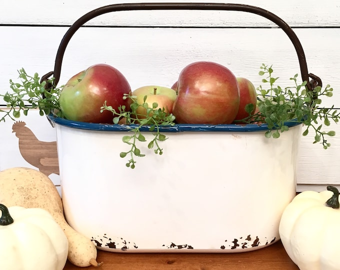 Enamelware Pail - Oval shape with swing handle