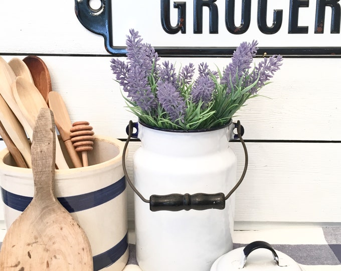 Vintage Enamelware Milk Can - White with Blue