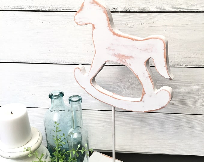 Horse on a Stand - White Wood