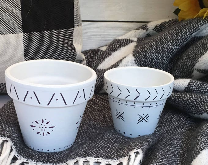 Flower Pots - Black and White - Price is for two pots