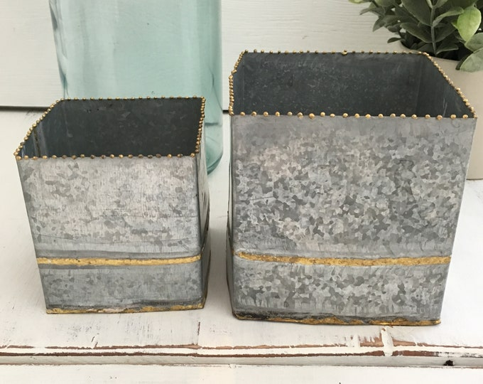 Zinc Planters with Brass Beading Detail