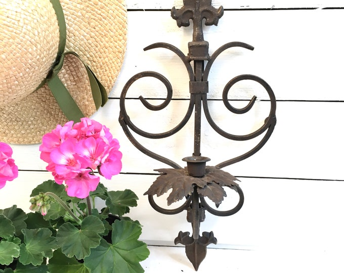 Vintage Sconce - Candle Holder - Black Wrought Iron