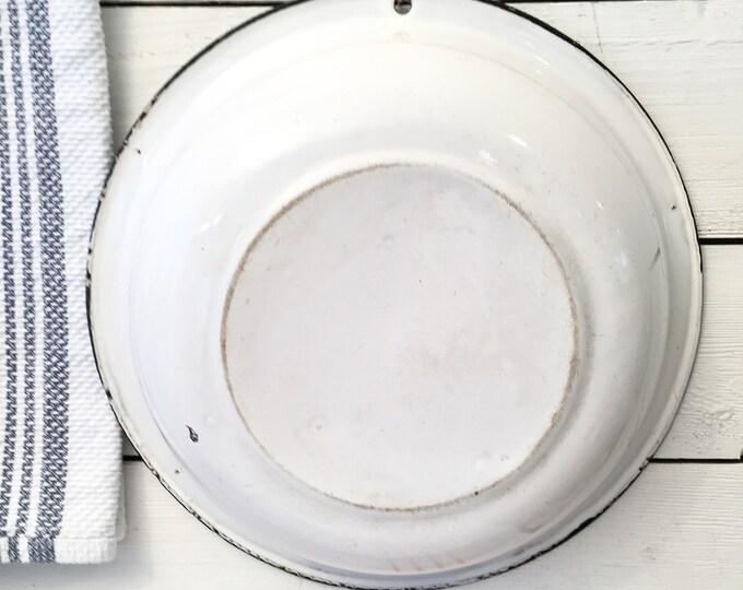 Vintage Enamelware Basin - white with black