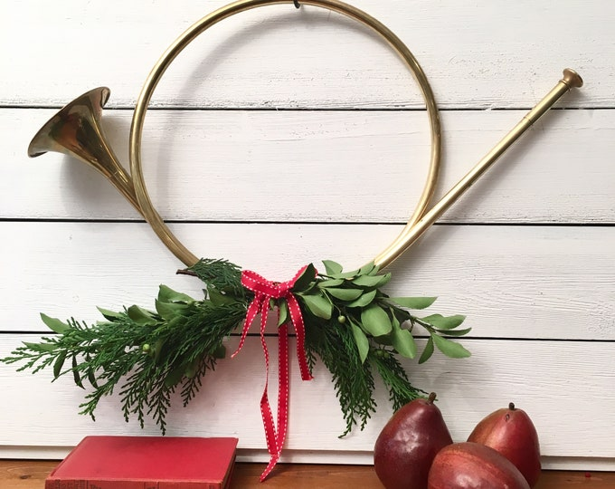 Vintage Brass French Hunting Horn - Christmas Horn