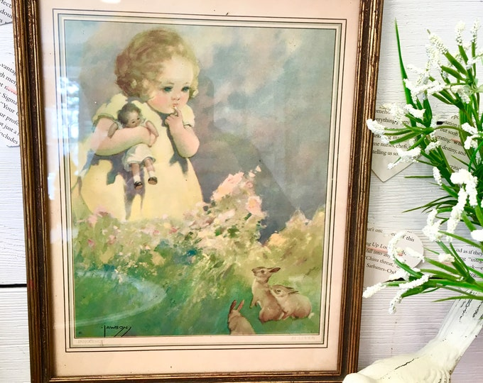 Vintage Print - Girl with Bunnies - Easter