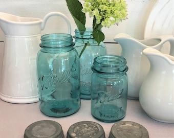 Blue Mason Jars - Vintage Ball Canning Jars