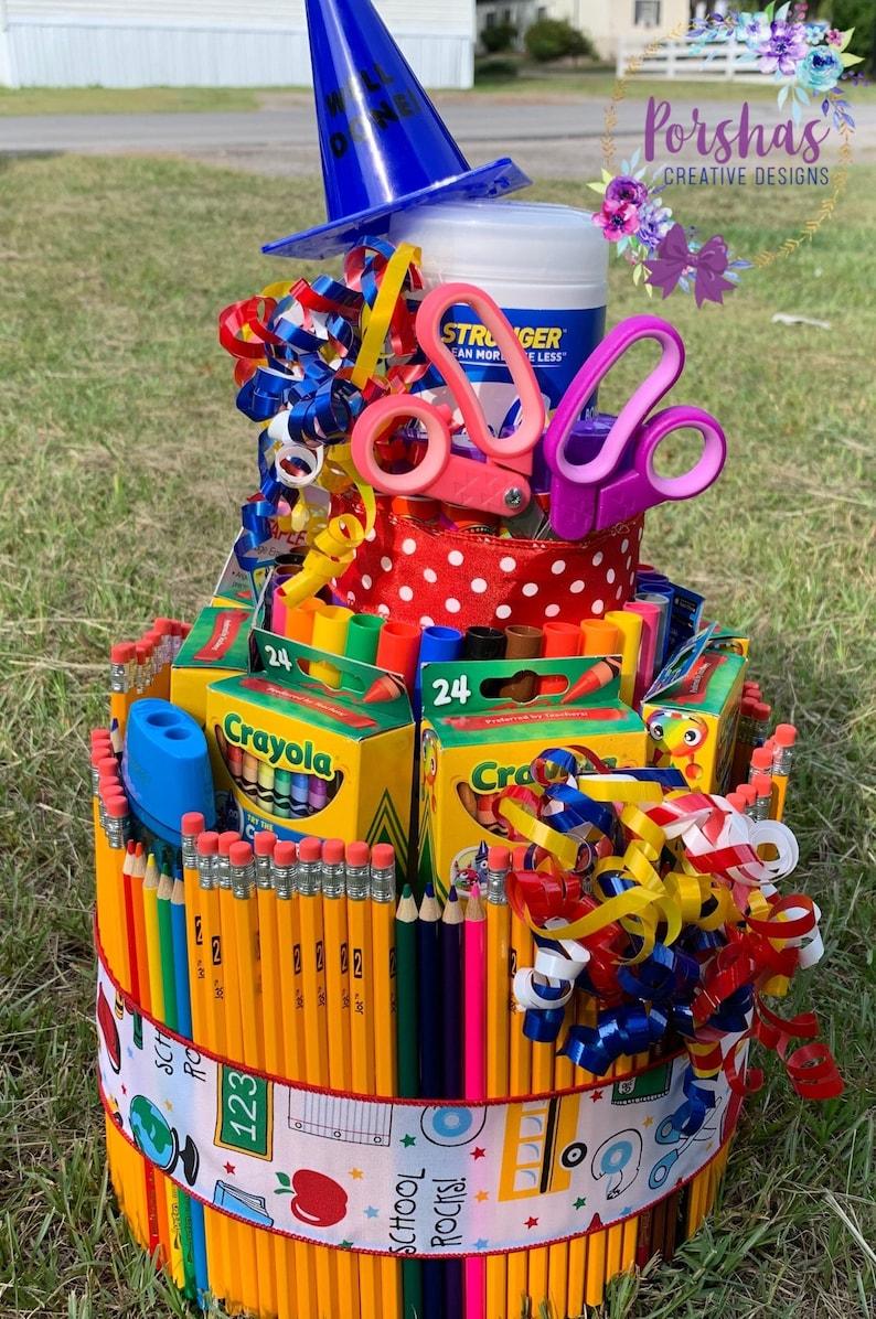 Back to School cake - school supplies cake