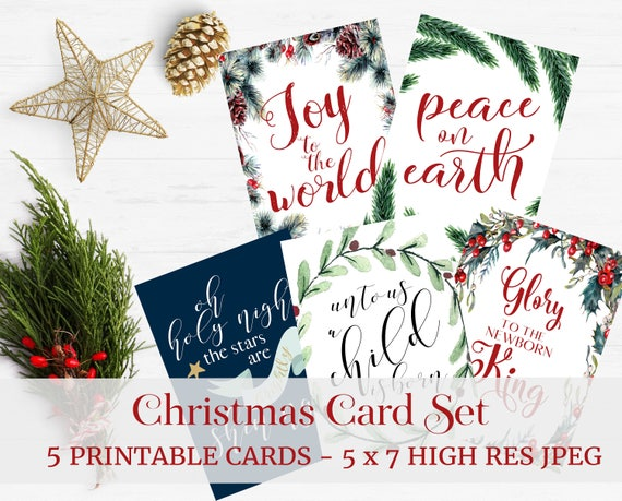 Printable Christmas Card Set Set Of 5 Religious Christmas Cards Christmas Card Set Digital Christmas Card 5x7 Card Instant Download