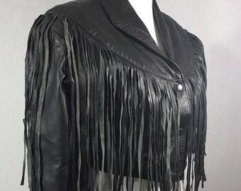 VIntage Black Leather fringe 80's fitted cropped jacket S