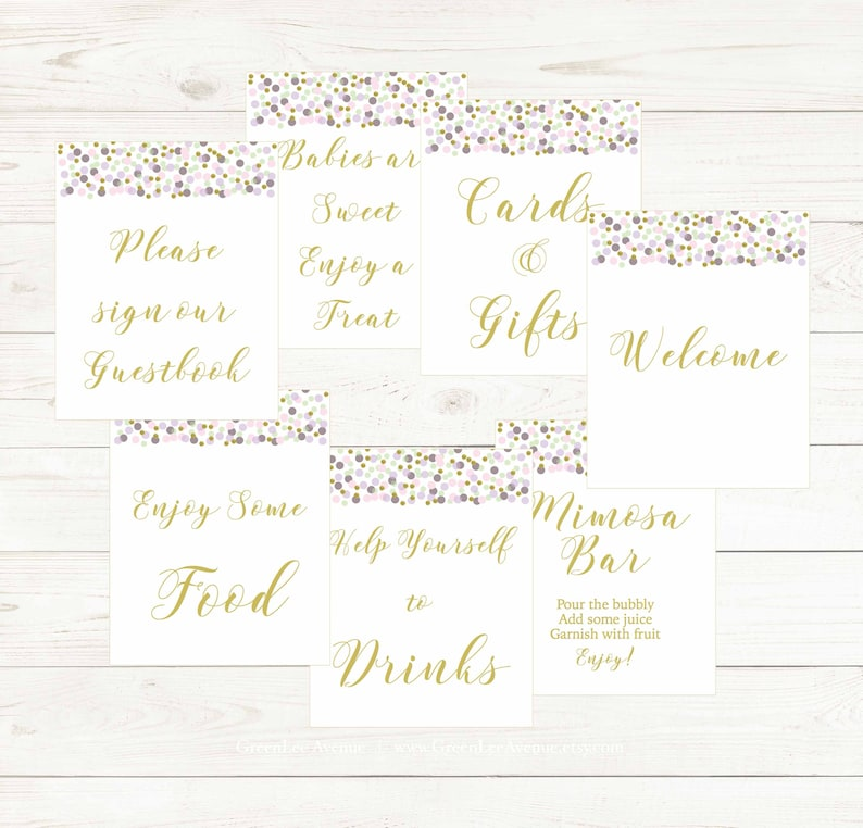 gla0025 Bundle 7 Games Pink Confetti Lavender Gold Confetti Baby Shower Games Package Gold Text
