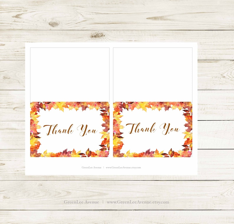 gla0028 Instant Download Autumn Leaves Thank You Cards Printable Orange Brown Maple Leaves