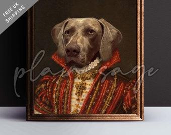 WEIMARANER Renaissance style pet portrait art print regal canvas