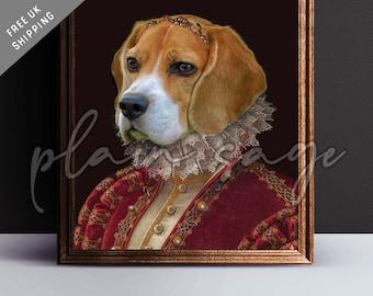 BEAGLE Renaissance style pet portrait art print regal canvas