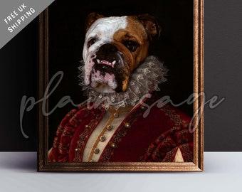 BULLDOG Renaissance style pet portrait art print regal canvas