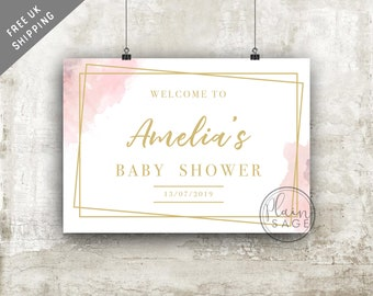 Baby Shower Welcome Sign Foamboard Rigid Personalised Paint