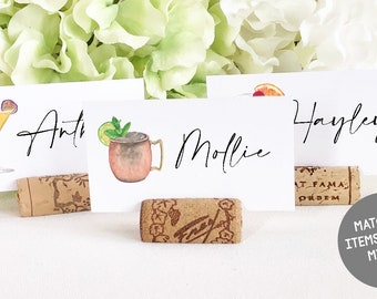 Guest Name Cards / Place Cards - Flat lay Cocktail